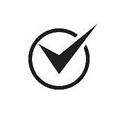 Check mark - black icon on white background vector illustration for website, mobile application, presentation, infographic. Tick concept sign design.