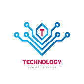 Letter T - vector business sign concept illustration. Abstract technology creative sign. Graphic design element.