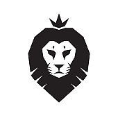 Lion head - creative business icon template vector illustration. Animal wild big cat face graphic sign. Pride, strong, power concept symbol. King of the beasts. Design element.