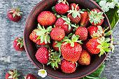 Fresh ripe summer organic strawberry