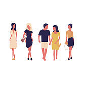 Group of women isolated on white background. Fashion and shopping. Women in the dresses, one woman with boyfriend.