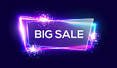 Big sale banner on neon background with glass transparent plate. Shopping sign with flares, sparkles, light, explosion, firework. Night club electric techno frame 3d discount bokeh vector illustration