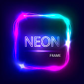Neon square glowing frame. Light banner with neon effect. Electric frame on dark background. Neon sign with flares and sparkles. Vintage vector illustration.