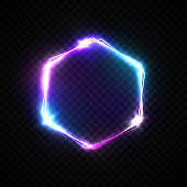 Hexagon background with neon lights on transparent backdrop. Shining hex logo design with light flash and sparkles. Color vector illustration in neon style.