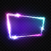 Blank 3d Retro Light Signboard With Shining Neon Effect. Night Club Neon Sign. Techno Frame With Glowing On Transparent Backdrop. Electric Street Banner. Technology Vector Illustration in 80s Style