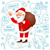 Santa Claus isolated on white Christmas background. Flat funny old man character carrying sack with gifts, waving hand and wishing Merry Christmas. Cartoon vector illustration on hand drawn backdrop.