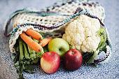 Vegetables in a reusable bag