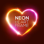 Night Club Neon Heart Sign. 3d Retro Light Signboard With Shining Neon Effect. Techno Frame With Glowing On Dark Pink Backdrop. Electric Street Banner Design. Colorful Vector Illustration in 80s Style
