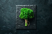 Fresh green parsley. Spices and herbs. On a black stone background. Top view. Free space for your text.