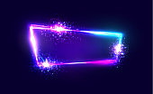 Night Club Neon Sign. Blank 3d Retro Light Signboard with Shining Neon Effect. Electric Street Techno Frame with Explosion, Firework on Dark Blue Backdrop. Colorful Vector Illustration in 80s Style.