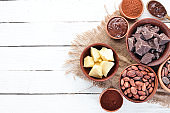 Chocolate, cocoa beans, cocoa butter. Chocolate Background Top view. Free copy space.