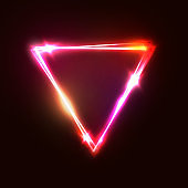 Upside down triangle background. Neon sign vector illustration. Pink red yellow romantic glamour backdrop with blank space for text. Glowing shining triangle design for banner flyer brochure template.