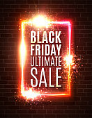 Black friday ultimate sale background. Discount sales festive backdrop with flashes stars fireworks particles on brick wall. Black friday design. Banner or flyer template. Colorful vector illustration