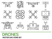 Modern thin line set with drones. Icons collection with quadrocopter, hexacopter, multicopter made in line style.