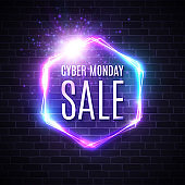 Cyber monday background with neon light vintage frame. Hexagon logo on blue dark brick wall. 3d geometric shapes vector street sign. Discount card for sale event Cyber monday vector text. Illustration