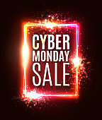 Cyber Monday sale neon sign. Abstract laser rectangle background with light explosion burst flares sparkles. Shining square sign on dark red backdrop. Banner design template. Color vector illustration