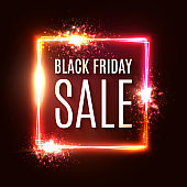 Black friday banner. Seasonal sale design template. Black friday text in square light frame on dark red backdrop. Rectangle glowing neon background. Bright discount vector illustration.