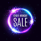 Cyber monday sale on circle background. Neon letters in round frame. 3d abstract vector design for Cyber monday event poster.