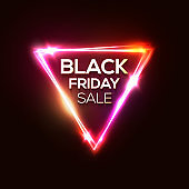Black friday sale on neon triangle background. Discount shopping sign on dark red backdrop. Glowing laser tag. Black friday design text in geometric shape. Retro vector illustration in 80s style.