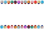 Collection of birthday gifts christmas presents copyspace copy space border isolated