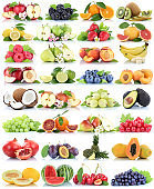 Fruits fruit collection orange apple apples banana strawberry melon pear grapes organic isolated on white