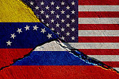 concrete wall with painted united states, russia and venezuela flags