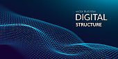 Digital technology. Abstract connection. Sci-fi user interface. Big data. Space futuristic emulation. Music background. Artificial intelligence. Blockchain and cryptocurrency. Vector