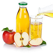 Apple juice pouring pour organic apples fruit fruits square isolated on white