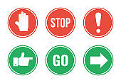 red stop and green go round road signs set