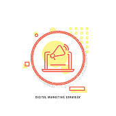 DIGITAL MARKETING STRATEGY icon, creative icon, icon unique concept, new generation, modern icon, Digital marketing modern flat design, Data, Market