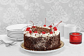 German Black Forest Cake in serving setting