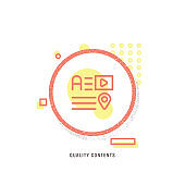QUALITY CONTENTS  icon, creative icon, icon unique concept, new generation, modern icon, Internal marketing line icon concept, Accountancy, Analyzing, Audit, Backgrounds