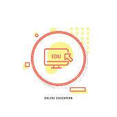 ONLINE EDUCATION  icon, creative icon, icon unique concept, new generation, modern icon, E-Learning, Circle, Computer, Computer Network, Internet