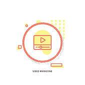 VIDEO MARKETING  icon, creative icon, icon unique concept, new generation, modern icon, Video blog icon, web site page template, Blogging, Computer, E-Learning