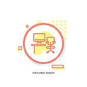FREELANCE CAREER  icon, creative icon, icon unique concept, new generation, modern icon, Freelance Work, Design Professional, Fashion