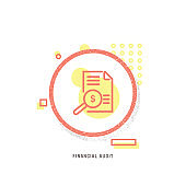 FINANCIAL AUDIT  icon, creative icon, icon unique concept, new generation, modern icon, Eye, Magnifying Glass, Equipment, Human Eye, Internet