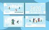 Flat Landing Page Set Offering Winter Fun and Joy