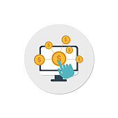 affiliate icon vector, make money online concept, marketing icon, pay per click icon vector, online business icon