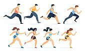 Cartoon Men Jogging and Women Running Marathon Set