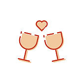 valentine day celebration icon, Toast Icon, Linear icon of two wine glasses with hearts, Alcohol, Drink glass icon, valentine day icon, romantic icon