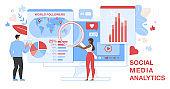 Social Media Analytics Horizontal Banner. Analytic