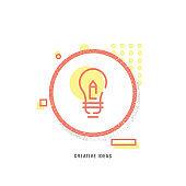 CREATIVE IDEAS icon, creative icon, icon unique concept, new generation, modern icon, Light Bulb, Creativity