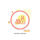 INVESTMENT RESEARCH icon, creative icon, icon unique concept, new generation, modern icon, Currency, bank, saving money, dollar icon