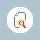 Document, file, find, management, optimization, search, zoom icon, vector document icon, flat color icon