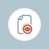 Document, eye, file, optimization, read, visible, watch icon, vector document icon, flat color icon