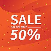 Sale special offer. 50% off. Vector illustration