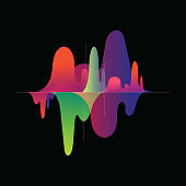 music abstract background, waves background, digital, new generation, creative, colorful unique background vector