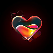 heart icon, Valentines day sale banner vector, bright bold vibrant colorful 3d contour heart on modern fluid liquid gradient background, Stylish neon light heart for valentine's day