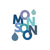 monsoon typography, monsoon background banner, season creative vector background, abstract background