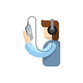 Happy young  person listening music with headphones, Headphones, People, Adult vector, Listening music, mobile in human hand concept